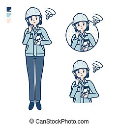 A woman wearing workwear with Holding a smartphone and troubled images. It's vector art so it's easy to edit.