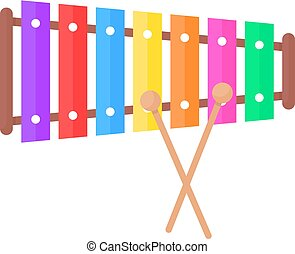 simple xylophone toy icon. concept of audio, tuned, concert, malleus, creativity, multicolor instrument, timbre, noise, childish. flat style trend modern logo graphic design on white background