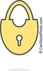 simple yellow door lock icon