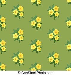 Simple yellow green floral seamless pattern