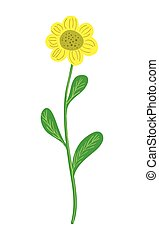Simple yellow sunflower vector illustration on white background.