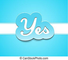 Simple yes text badge on blue background.