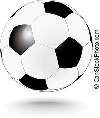simplemente, blanco, fútbol, negro, soccerball
