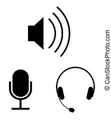 simples, áudio, vetorial, ícones