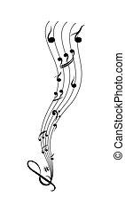 simples, aduela, notas, desenho, musical
