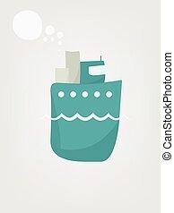 simples, apartamento, imagem, caricatura, steamship.