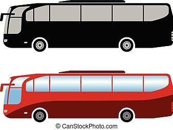 simples, autocarro, treinador, ilustração