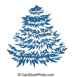 simples, azul, árvore, natal, isolado