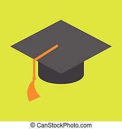 simples, boné graduação, ilustração, vetorial