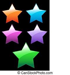 simples, botões, brilhante, estrelas