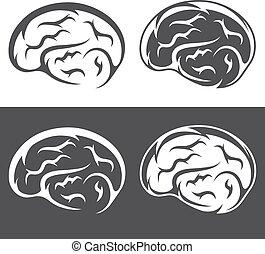 simples, cérebro, jogo, vetorial, ícones