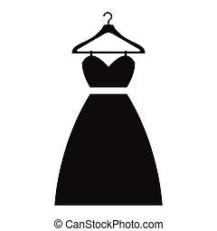simples, cabide, vestido, ícone