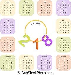 simples, calendário, 2018