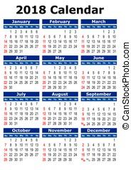 simples, calendário, vetorial, 2018