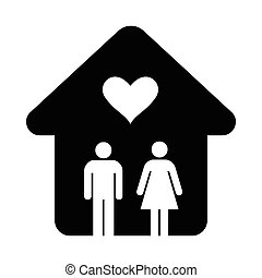 simples, casa, coração, ícone