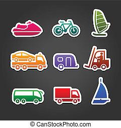 simples, cor, jogo, adesivos, transporte