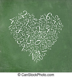 simples, coração, números, dado forma