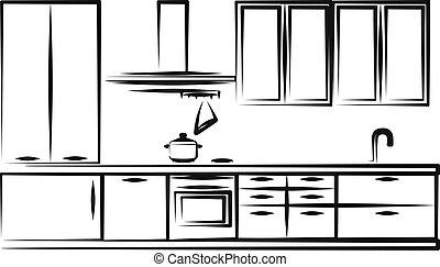 simples, cozinha, ilustração, mobília