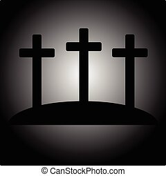 simples, cruzes, três, ícone, calvário