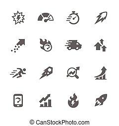 simples, desempenho, ícones