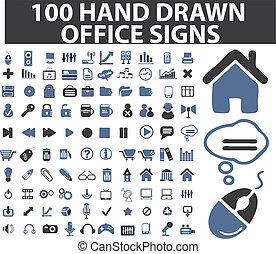 simples, desenhado, 100, sinais mão
