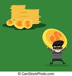 simples, dinheiro, ladrão, caricatura