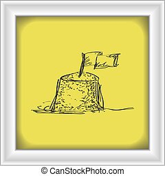 simples, doodle, castelo areia