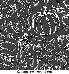 simples, doodle, legumes, seamless, mão, pretas, tábua, padrão, desenhado