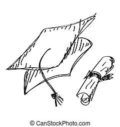simples, doodle, tábua, morteiro