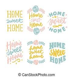 simples, e, bonito, casa doce casa, mão, lettering
