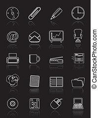 simples, escritório, ferramentas, ícones