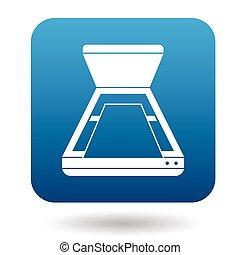 simples, estilo, abertos, scanner, ícone