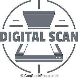 simples, estilo, digital, logotipo, varredura