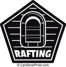 simples, estilo, rafting, logotipo