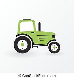 simples, fazenda, verde, trator
