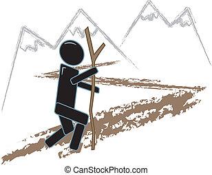 simples, figura, hiking
