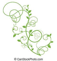 simples, floral, vetorial, desenho, verde