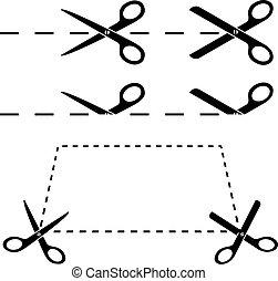 simples, formas, pretas, tesouras, branca, print.