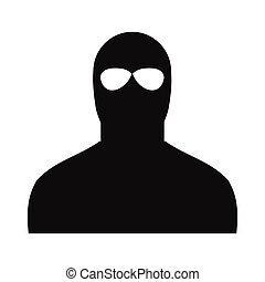 simples, homem preto, máscara, ícone