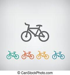simples, icon., minimalistic, bicicleta, v