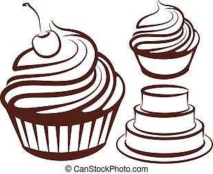 simples, ilustração, sobremesas