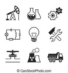 simples, indústria, vetorial, jogo, ícone