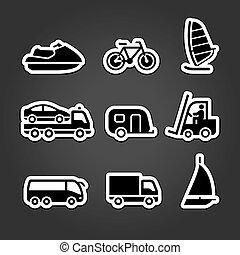 simples, jogo, adesivos, transporte