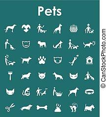 simples, jogo, animais estimação, ícones