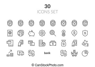 simples, jogo, de, finanças, relatado, vetorial, linha, icons., contém, tal, ícones, como, impostos, manejo dinheiro, aperto mão, e, more.