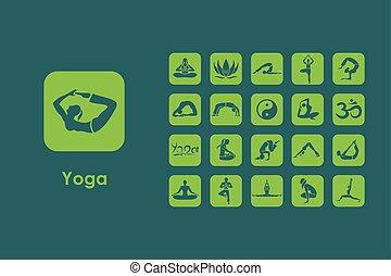 simples, jogo, ioga, ícones