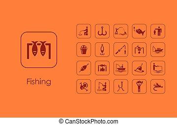 simples, jogo, pesca, ícones