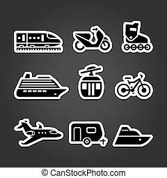 simples, jogo, transporte, ícones