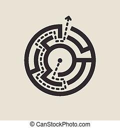 simples, labirinto, circular