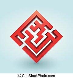 simples, labirinto, vermelho